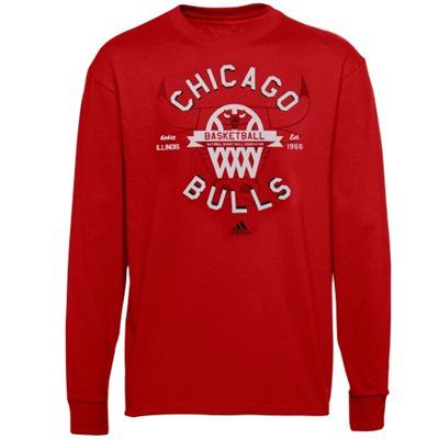 adidas Chicago #Bulls Youth Classic Basket Long Sleeve T-Shirt - Red $21.95