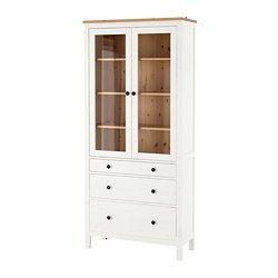 IKEA - HEMNES, Vitrina, tinte blanco, , Las puertas correderas no ocupan espacio cuando están abiertas.La madera maciza tiene un aspecto natural.