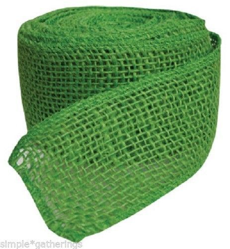 "10 Yards by 2 1/2"" Wide GREEN BURLAP RIBBON - Crafts - Primitive Decor $7.95 plus shipping ~ more color options available in our eBay store."