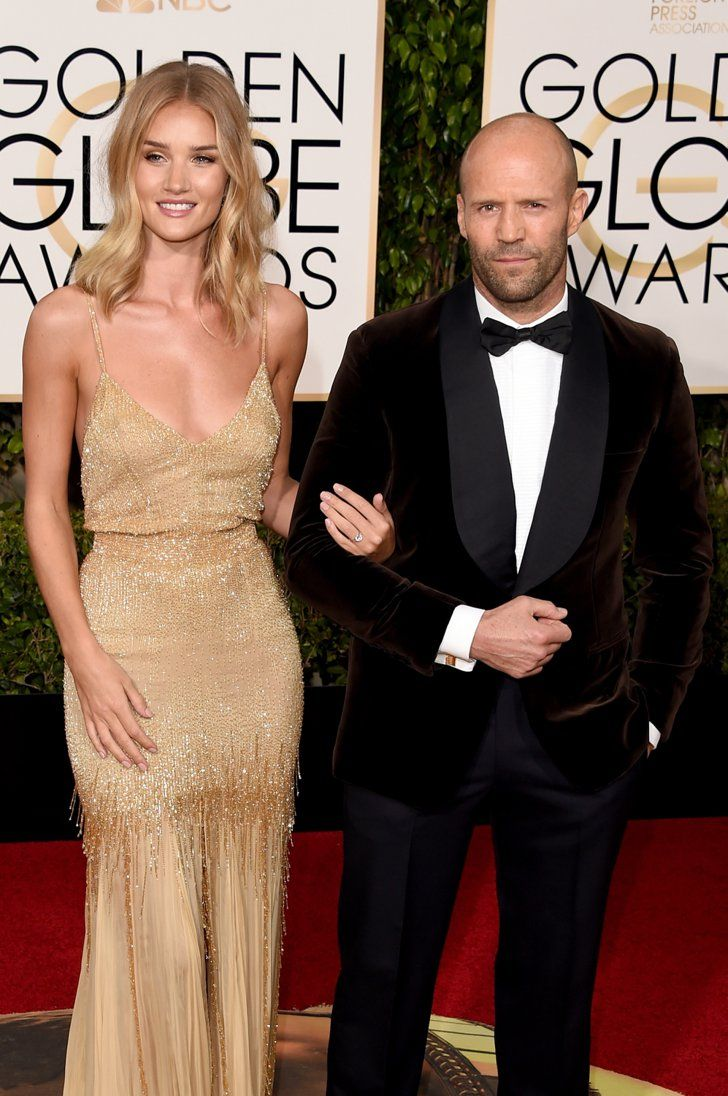Pin for Later: These Celebrity Couples Amped Up the PDA at the Golden Globe Awards Rosie Huntington-Whiteley and Jason Statham