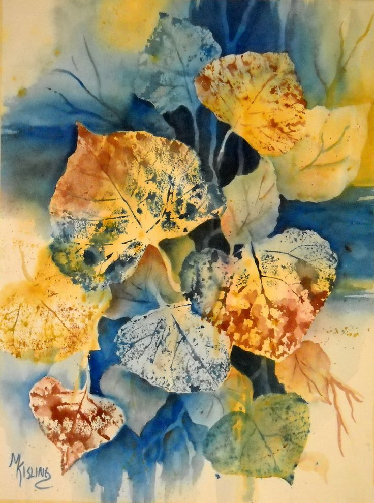 Martha Kisling Art With Heart : FALL LEAVES - Original Watercolor - negative painting