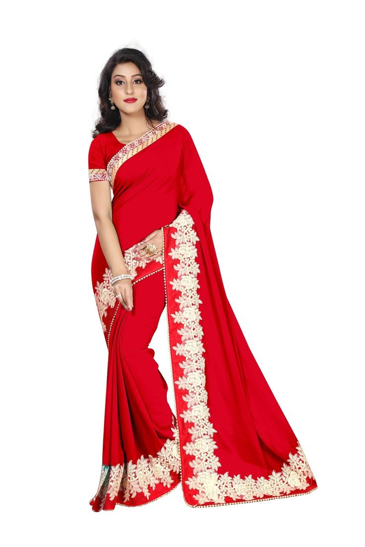 buy saree online Red Colour Georgette Embroidered Border Work Party Wear Saree  Buy Saree online UK  - Buy Sarees online