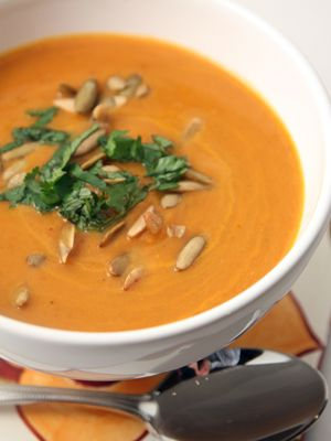 Creamy Pumpkin Chipotle Soup, by Chef Rick Bayless. From Frontera Fiesta.