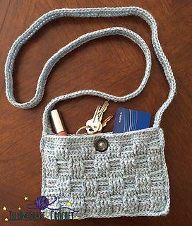 Carefree Basketweave Crossbody Bag, crochet pattern in Kraemer Yarns Tatamy Tweed Worsted