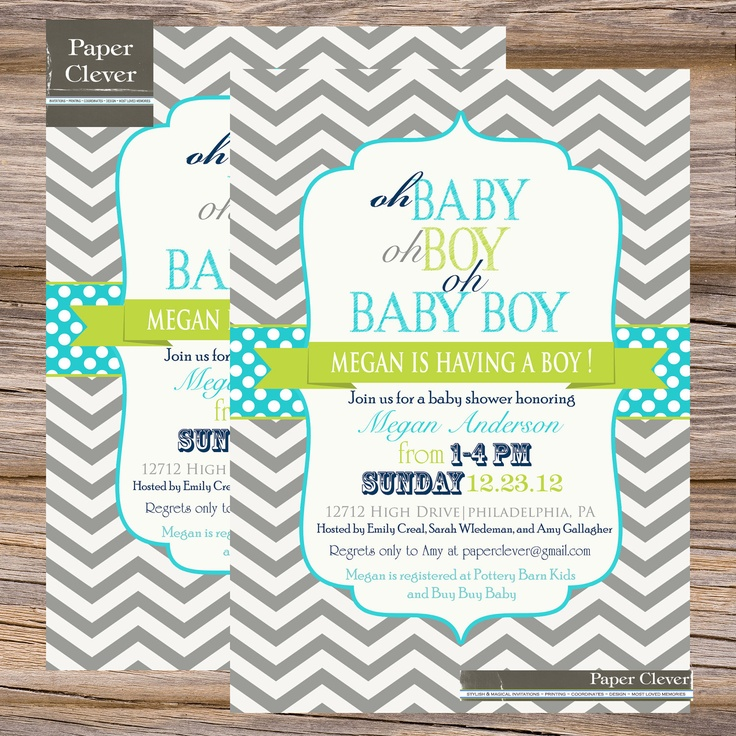 Boys Baby shower invitation oh baby chevron aqua & lime digital file, printable. $13.00, via Etsy.
