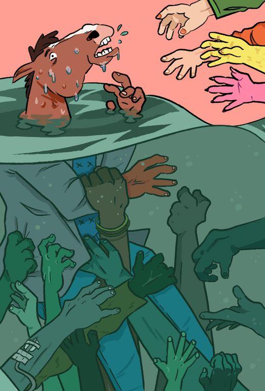 I love Bojack so much, I drew him drowning in a lake of tar! : BoJackHorseman