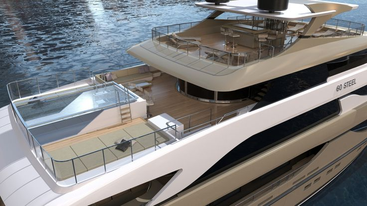 #Sanlorenzo #60Steel endless #Swimming and #Jacuzzi pool. She recalls the timeless and #classic Sanlorenzo design, combined with the most innovative technical features that modern #yachting has to offer.  #spaciousness #Sanlorenzo60Steel #Megayacht #Luxury #SimpsonMarine