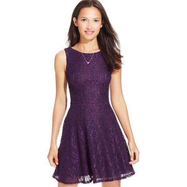 Speechless Juniors' Glittered Lace Dress (Only at Macy's) ($55) ❤ liked on Polyvore featuring dresses, plum, deep v neck dress, purple dress, purple lace cocktail dress, lace fit and flare cocktail dress and speechless dresses