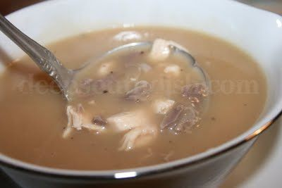 A homemade gravy made from the roasting pan drippings, turkey giblets and egg.