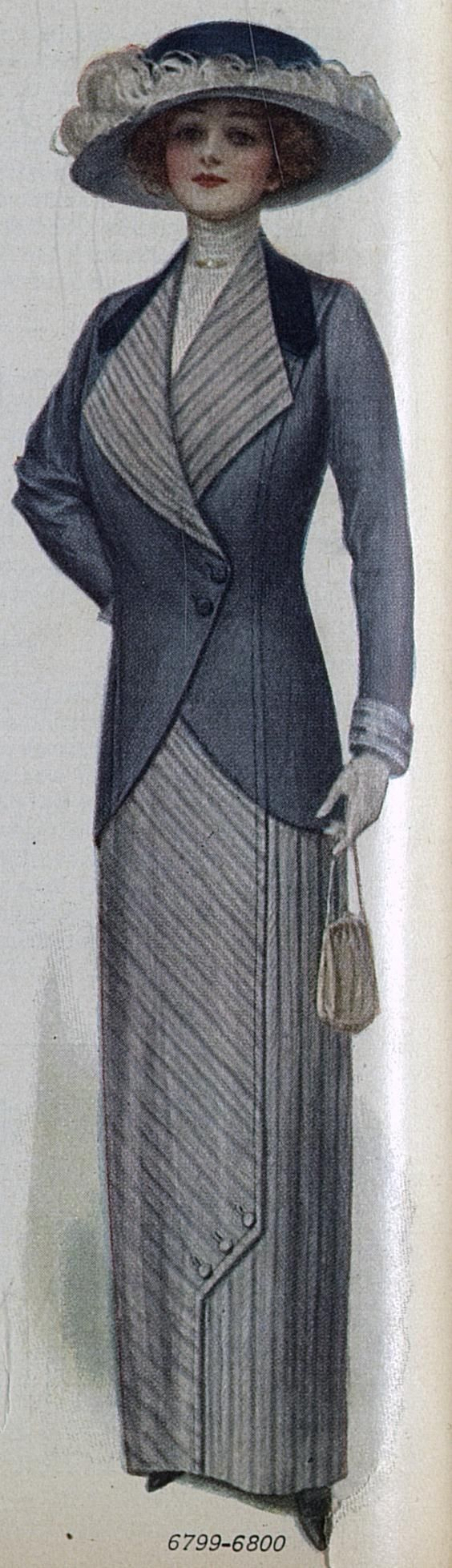 Source of Today's Featured Fashion: Ladies Home Journal (April, 1912) | suit and hat with ostrich feather