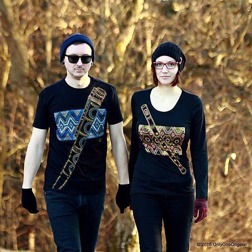 Dámske a pánske tričká párové s fujarou a píšťalkou maľované SPEVAVO