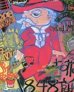 Mary Haley Davis: Colonel Reb is my mascot! Painting including all of the different aspects of Oxford.