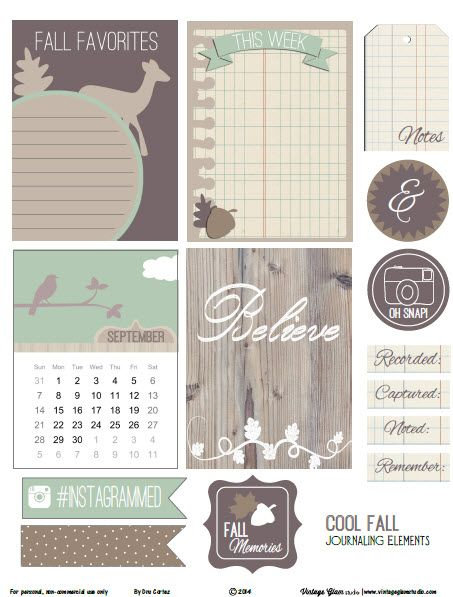 Free Cool Fall Journal Cards and Labels from Vintage Glam Studio