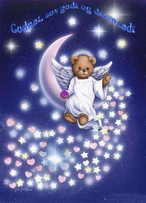 godnat, sov godt, drøm sødt = Good night, sleep tight, sweet dreams