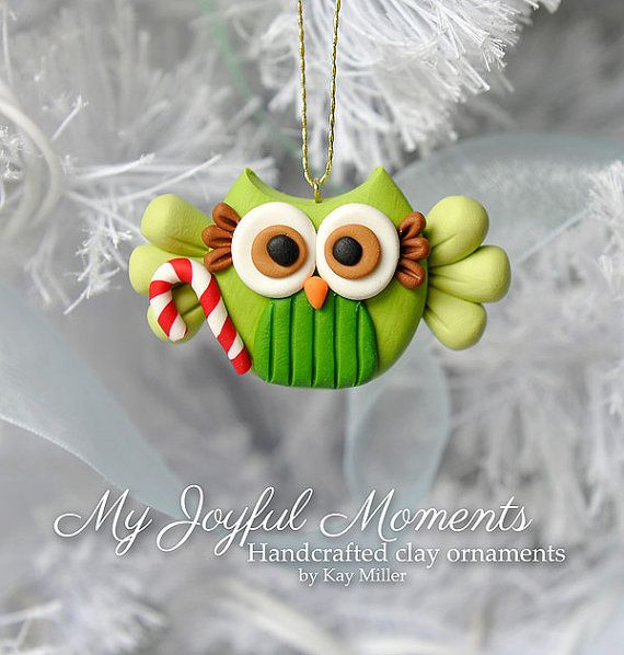 Ručně Polymer Clay Owl Ornament