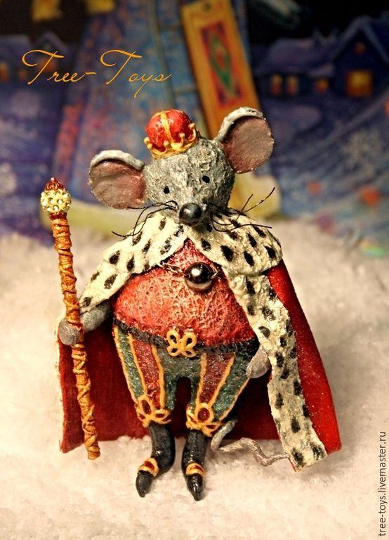 """Купить Елочная игрушка """"Мышиный король"""" - ярко-красный, мышь, крыса, король, щелкунчик"""