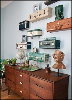 Suitcase Shelves. Neutral Wall Color. Warm Woods. Maries Manor: Travel  Theme Decorating