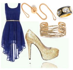 Blue dress with Gold Accessories