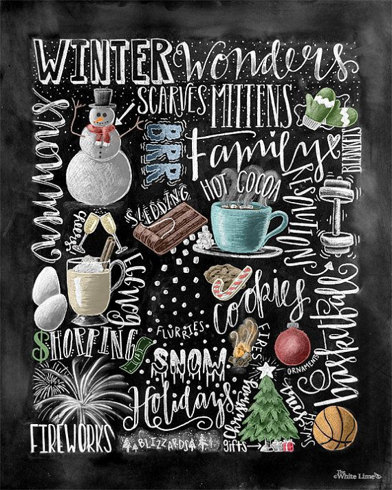 •The Listing • ~Winter Wonders~ Hand drawn chalkboard art showcasing various winter words and illustrations. I hand drew the