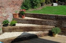 railway sleepers retaining wall - Google Search