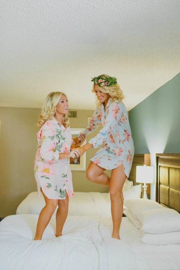 These sisters wear Plum Pretty Sugar Boyfriend Shirts before the wedding. A perfect way to create memories and create a keepsake long after the wedding. Shop at www.PlumPrettySugar.com.