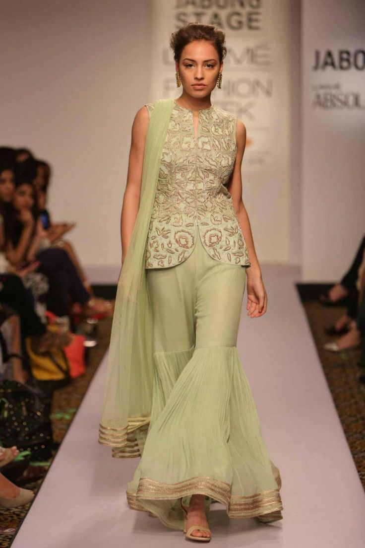 RIDHI MEHRA Mint green embroidered jacket with sharara pants