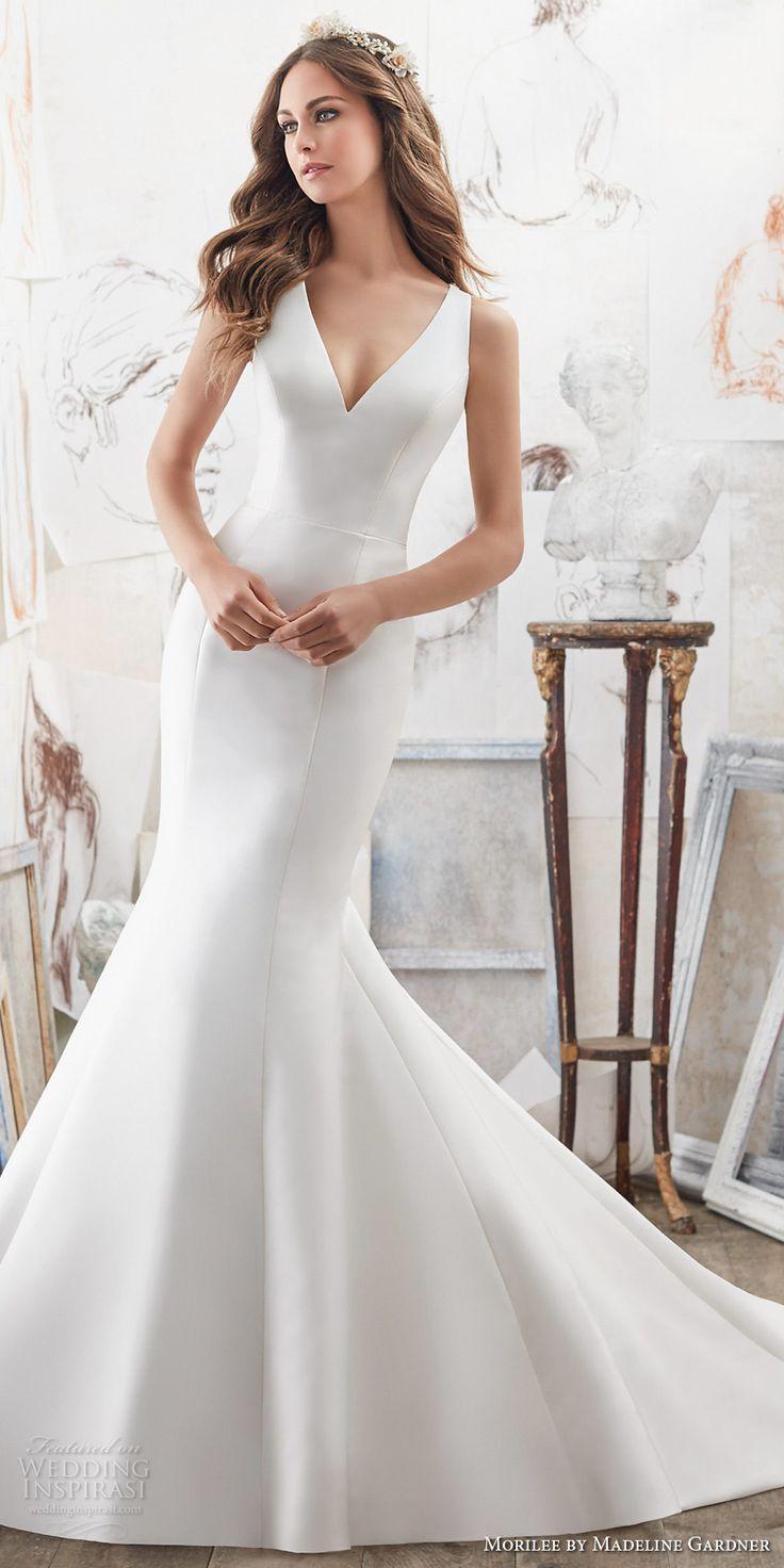 Morilee Blu spring 2017 bridal sleeveless v neck clean simple elegant fit and flare wedding dress embellished strap back chapel train (5506) mv #wedding #bridal #weddingdress