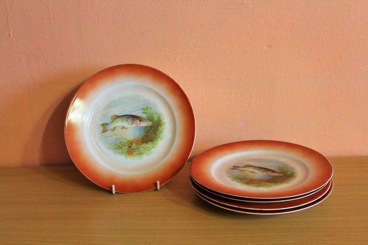 Vintage EPIAG Aich Porcelain Plates Fish Czechoslovakia Set Of 5 by Grandchildattic on Etsy