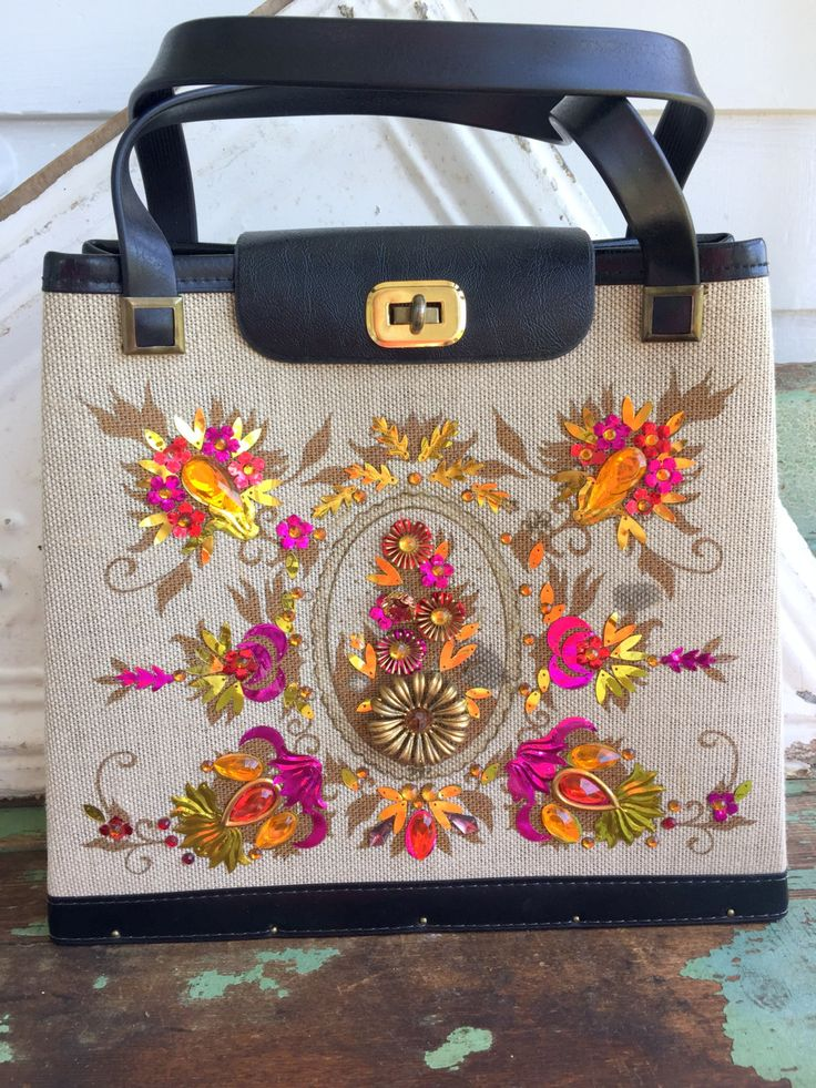 VINTAGE Jeweled Purse Kit Completed Purple/Orange Flowers Regency General Crafts by Holliezhobbiez on Etsy