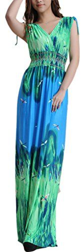 Wantdo Womens Printed Paris Bohemian Summer Maxi Dress Plus sizeGreenUS 3X ** To view further for this item, visit the image link.