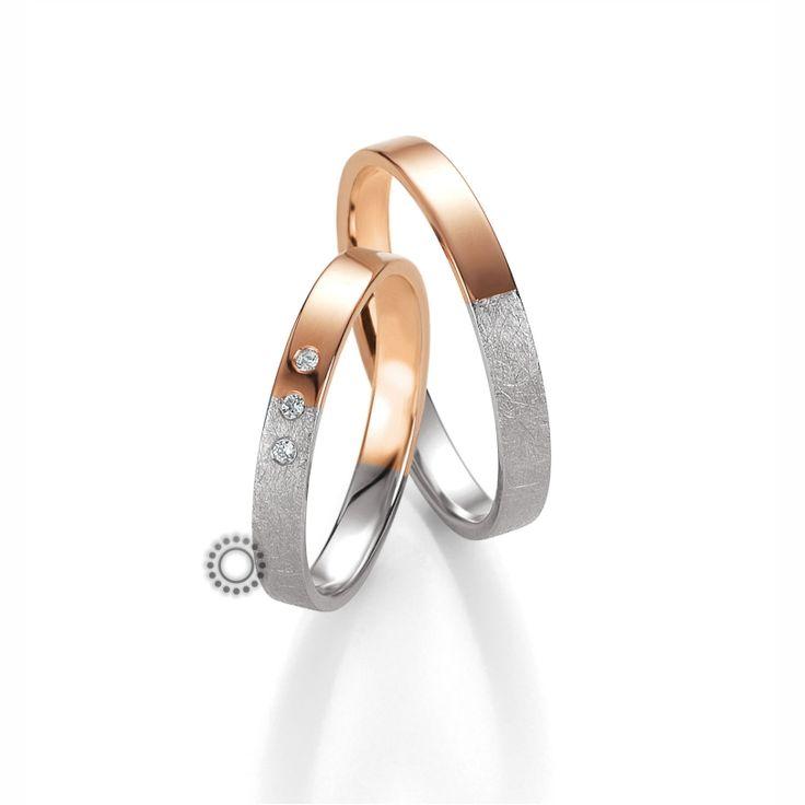 Βέρες γάμου BENZ 047 & 048 - Ιδιαίτερες χρυσές βέρες Benz από γυαλιστερή ροζ και ανάγλυφη λευκή επιφάνεια | Βέρες ΤΣΑΛΔΑΡΗΣ #βέρες #βερες #γάμου