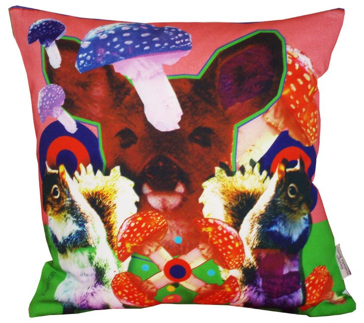 Nature_Lover pillows are a serial of 3 pillows with the same theme: Life in the forest, nature, mushrooms, squirrels, deers mixed with geometrical figures and bright colours.Digital printSize: 50cm x 50cm100% cotton