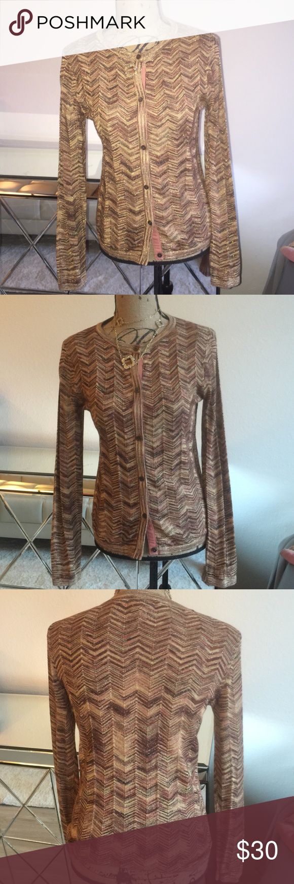 Missoni for target gold cardigan 👜👜 Worn once.  Size S .  I am selling the shirt that goes underneath separately. Missoni Jackets & Coats
