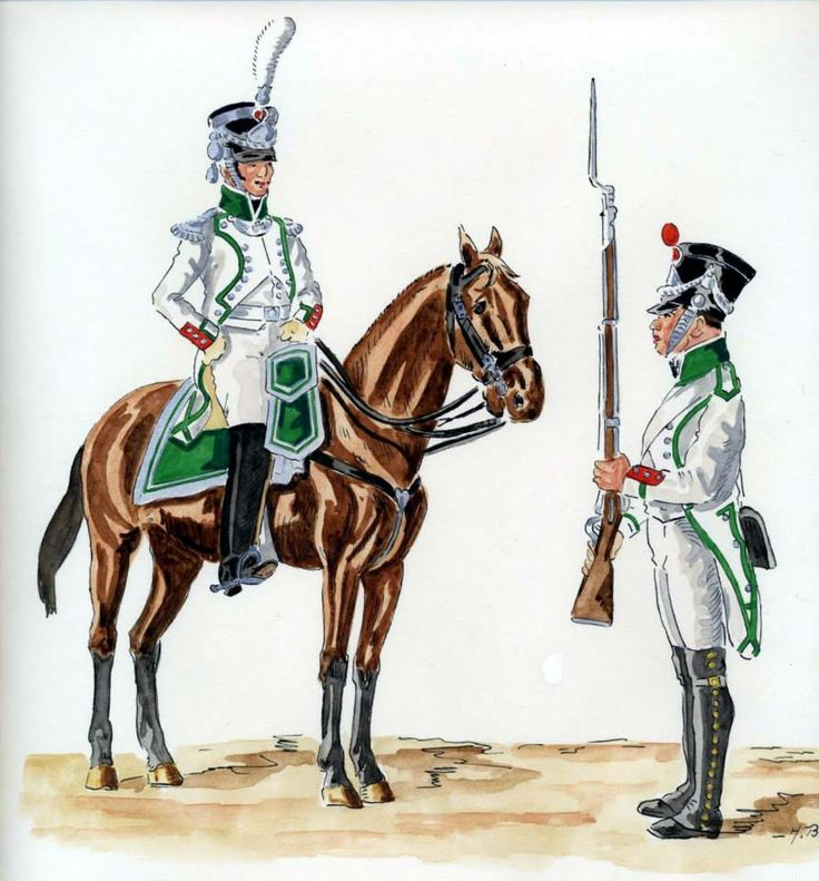 Kingdom of Italy-from left to right: higher officer and 1 fusilier Regiment of line infantry, 1811-13, Fig. H. Boisselier.