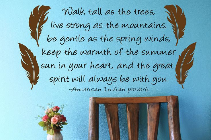 """*""""Walk tall as the trees, live strong as the mountains, be gentle as the spring winds, keep the warmth of the summer sun in your heart, and the Great Spirit will always be with you.""""  ~ American Indian Proverb ~"""