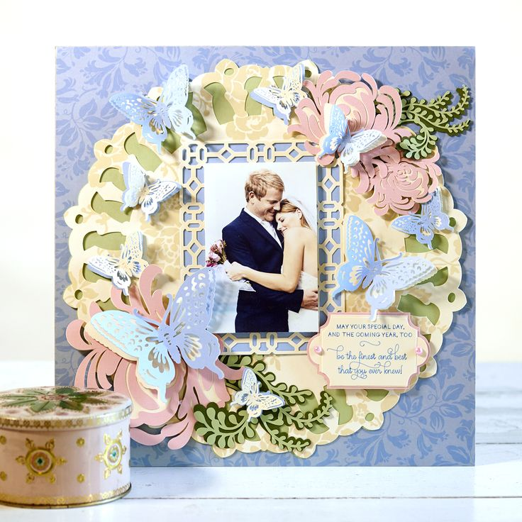 Delightful Anna Griffin Garden Butterflies Scrapbook Layout. Click Here To Make It Now  With The Cricut