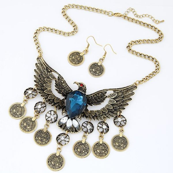 Vintage Eagle Necklace Set Earrings - Majesty Case