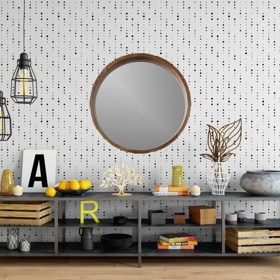 Streaming dots removable wallpaper  cute self adhesive wallpaper  black and white geometric temporary wallpaper G196-27