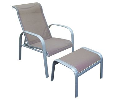 Outdoor Furniture.  Reclining Aluminium chair with footstool.  Available in other colours.