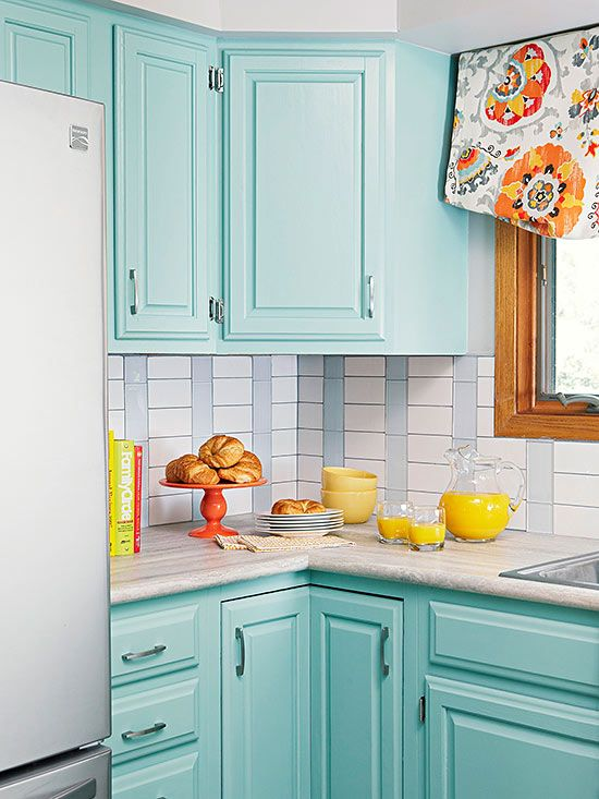 Guess how much this makeover costs blue tiles white for Tiffany blue kitchen ideas