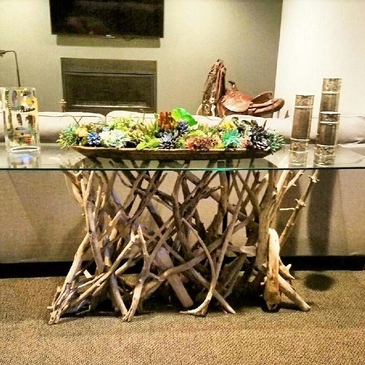 Custom driftwood sofa console table -- so unique!