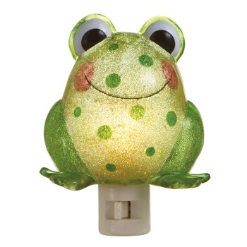 "Our Jumping Frog Night Light is the perfect unique night light for your little one.  A new take on the traditional animal themed kids night light! Perfect kids room night light, bathroom night light, nursery room night light or unique baby shower gift.    Size:  5"" Width x 3-1/4"" Height x 1"" Deep  Finish: Acrylic"