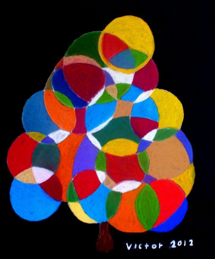 Bollträdet, pastell. The ball tree, pastel.