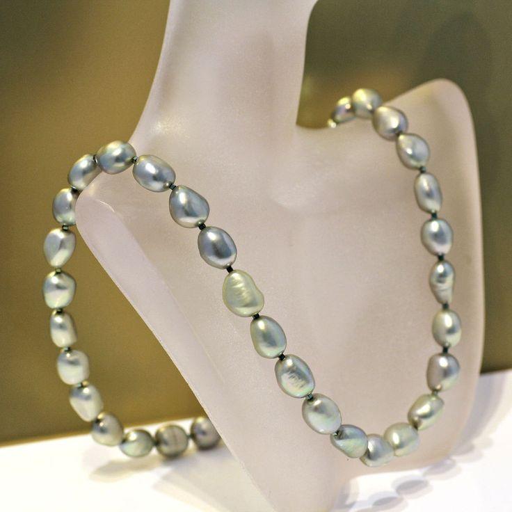Echte Perlenkette grün Zuchtperlenkette Silber 50 cm