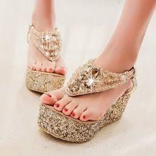 Nuevo 2015 plataforma del alto talón sandalias plateadas oro Rhinestone brillante partido zapatos de verano para mujeres moda Casual oro plata(China (Mainland))