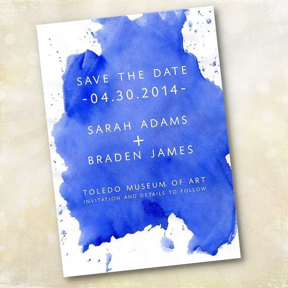 Wedding Invitation or Save the Date - Modern Cobalt Blue Watercolor