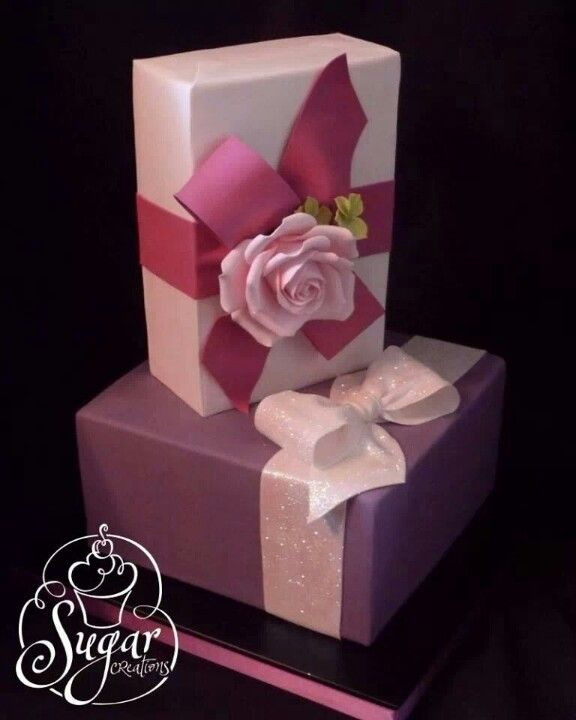 59 best gift box cakes images on pinterest beautiful cakes pretty gift boxes birthday cake with sparkle sugar creations uniontown ks negle Images