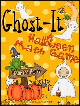 Freebie Ghost-It! Game  An October and Halloween Mathematics Game.   ~ Perfect for an October Math Center!  ~ Game Instructions included  ~ Printable Ghost-It Cards included  ~Print on card stock, laminate, and it makes a terrific learning center.