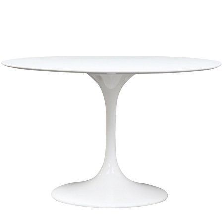 Modern White Round Pedestal Dining Table 48 Inches