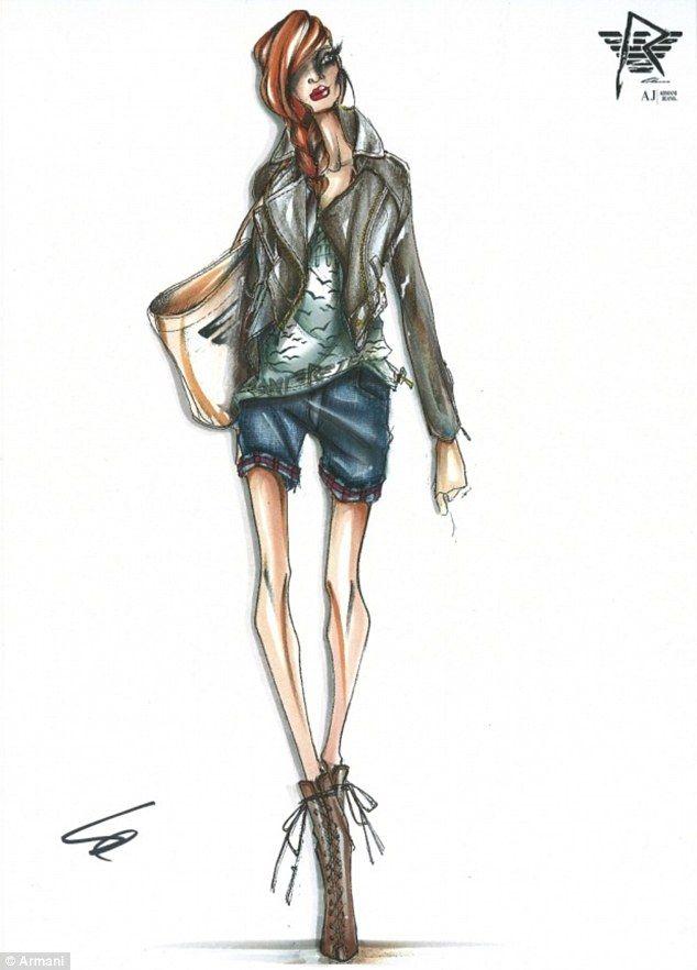 Elegante: un giubbotto da motociclista tagliente, pantaloncini arrotolati e stivali in pizzo-up assomigliano Rihanna maggior parte sono più familiarità con.  Questo disegno mostra anche un'altra camicia, decorata con una stampa uccello